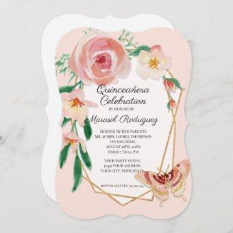 15TH Birthday Party Quinceañera Blush Butterfly Invitation