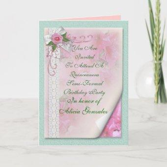 15th Quinceanera Birthday party pink invitation