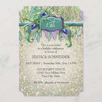 15th Quinceanera Fifteenth Birthday Party Ticket Invitation