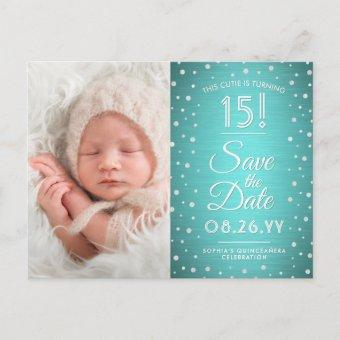 2 Photo Quinceanera Teal Blue Silver Save the Date Invitation Postcard