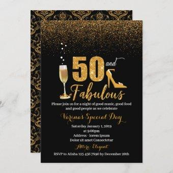 50 and Fabulous Birthday Invitation for Women