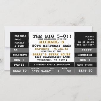 50th Birthday Concert Ticket Party Invitations
