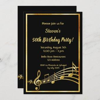 50th birthday party black and gold music notes invitation