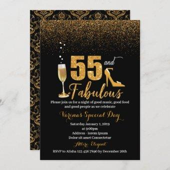 55 and Fabulous Birthday Invitation for Women