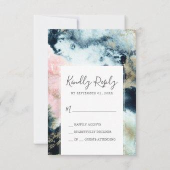 Abstract Celestial Watercolor Simple RSVP Card