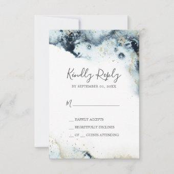 Abstract Navy Watercolor Simple RSVP Card