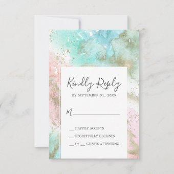 Abstract Summer Watercolor Simple RSVP Card