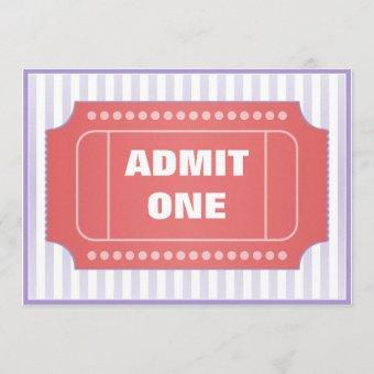 Admit One Movie Party Red Periwinkle Invitation