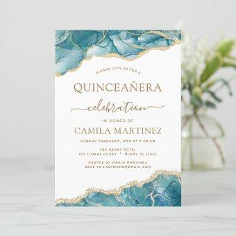 Agate Turquoise Quinceañera Teal Gold Blue Invitation