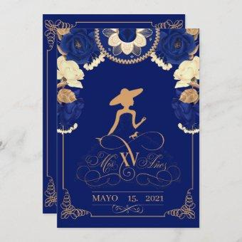 Announcement Charro Invitation, in Navy Blue, and