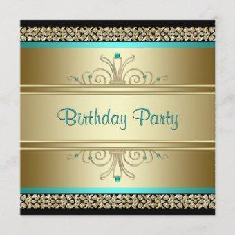Aqua Teal Blue and Gold Birthday Party Invitation