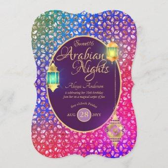 Arabian Nights Sweet 16 Quinceanera ANY AGE Party Invitation