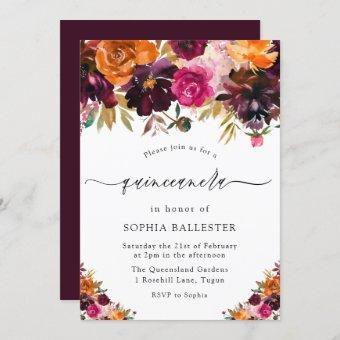Autumn Burgundy Flowers Fall Quinceanera Party Invitation