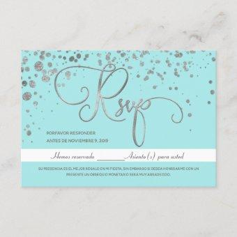 Baby Blue Quinceanera RSVP, Spanish Response Card