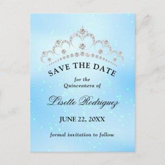 Baby Blue Quinceanera Save The Date Postcard