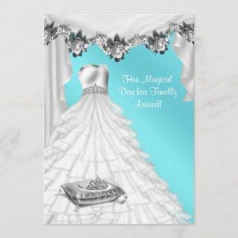 Ball Gown Tiara White Rose Teal Quinceanera Invitation