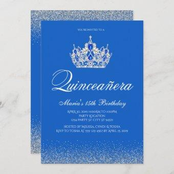 Beautiful Blue and Silver Quinceanera Invitations