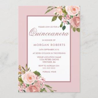 Beautiful Blush Flowers Quinceanera Party Invite