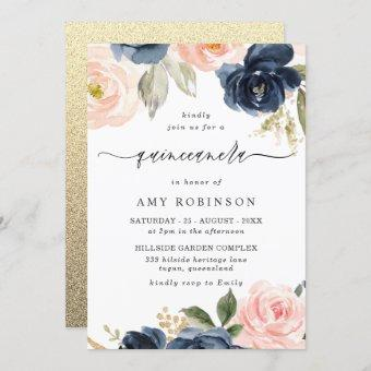 Beautiful Blush & Navy Flowers Quinceanera Party Invitation