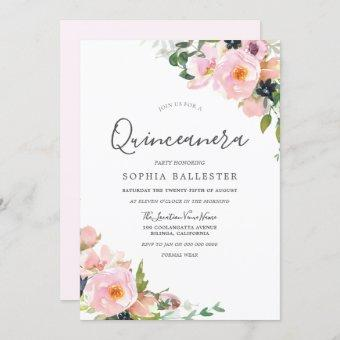 Beautiful Blush Pink Flowers Quinceanera Party Invitation
