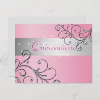 Beautiful, Pink and Silver Quinceanera Invitation