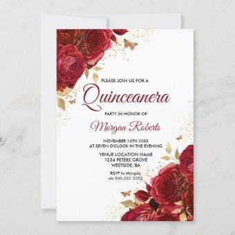 Beautiful Red Roses Butterflies Quinceanera Party Invitation