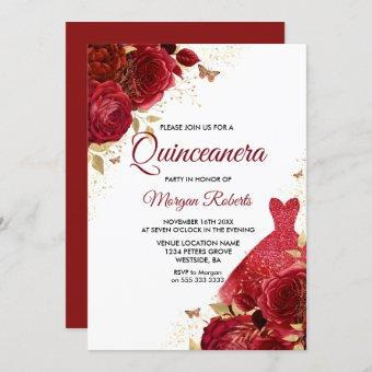 Beautiful Red Roses Sparkle Dress Quinceanera Invitation