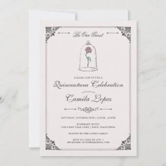 Beauty & the Beast | Enchanted Rose Quinceanera  Invitation