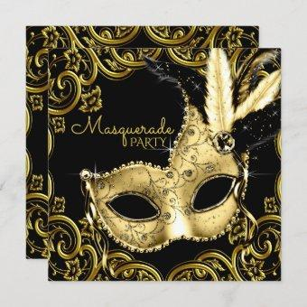 Black and Gold Feather Mask Masquerade Party Invitation