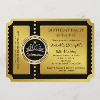 Black and Gold Quinceanera Birthday Party Invitation