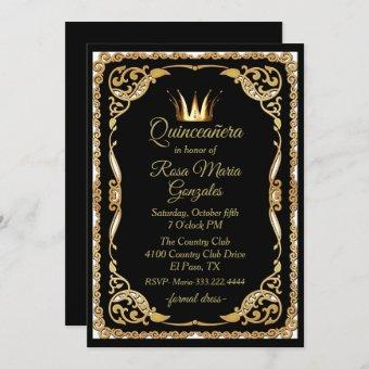 Black and Gold with Crown Quinceanera Invitation