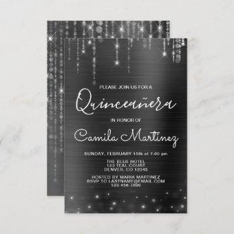 Black and Silver Modern Quinceanera Party Invitation