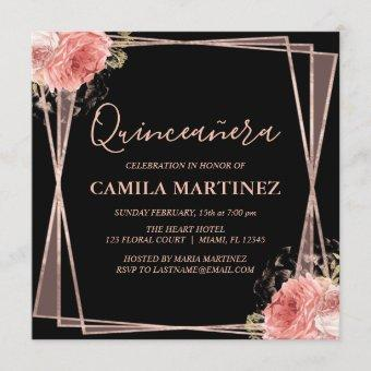 Black Blush Pink Rose Gold Quinceanera Party Invitation
