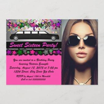 Black Limo Hot Pink Black Photo Sweet 16 Party Invitation