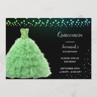 Black Quinceanera Princess Lime Green Gown Lights Invitation