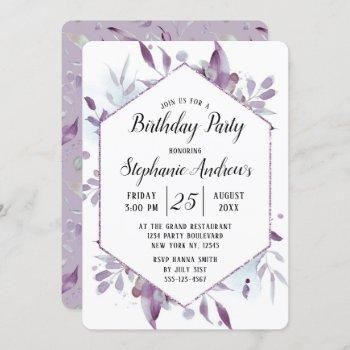 Blooming Amethyst Floral Watercolor Birthday Party Invitation