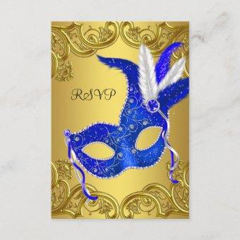 Blue and Gold Masquerade Party RSVP