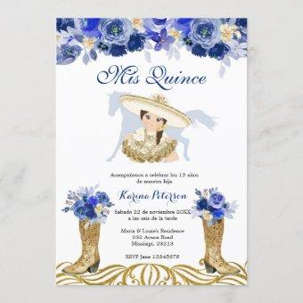 Blue and Gold Spanish Boot Charra Quinceanera Invitation