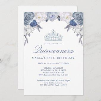 Blue and White Floral   Quinceanera Invitations