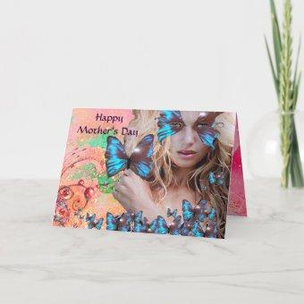 BLUE BUTTERFLY IN PINK GREEN GOLD SPARKLES CARD