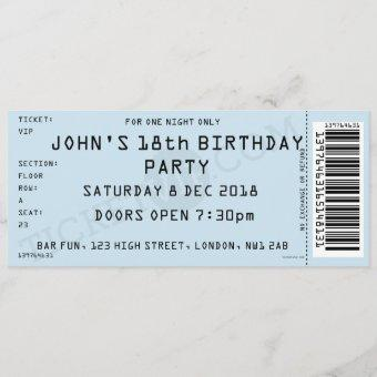 Blue Concert Ticket Party Invitation