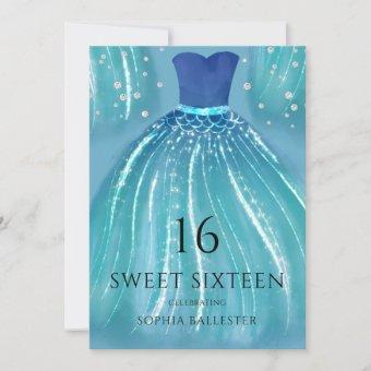 Blue Ombre Mermaid Dress 15th Sweet 16 Party Invitation