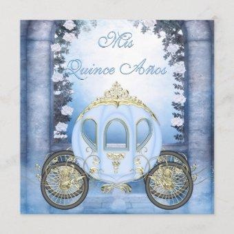 Blue Princess Carriage Enchanted Quinceanera Invitation