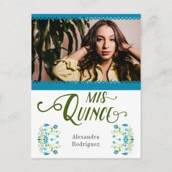 Blue Traditional Mexican Floral Photo Quinceanera Invitation Postcard