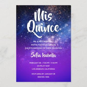 Blue Violet Ombre Cosmic Photo Mis Quince Birthday Invitation