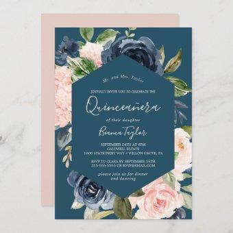 Blush and Navy Flowers   Blue Quinceañera Invitation