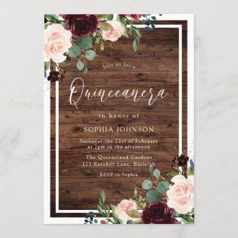 Blush Burgundy Red Floral Rustic Wood Quinceanera Invitation