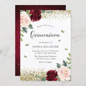 Blush & Burgundy Red Flowers Quinceanera Party Invitation