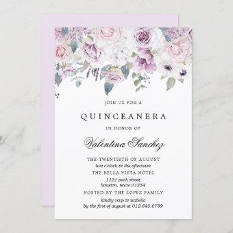 Blush Pink and Purple Watercolor Floral Quinceaner Invitation