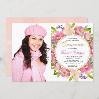 Blush pink coral gold floral Quinceanera photo Invitation